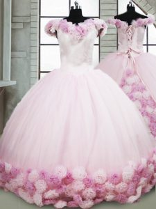 Off The Shoulder Sleeveless Ball Gown Prom Dress Brush Train Hand Made Flower Pink Fabric With Rolling Flowers