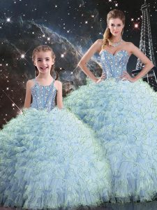Aqua Blue Ball Gowns Beading and Ruffles 15 Quinceanera Dress Lace Up Organza Sleeveless Floor Length