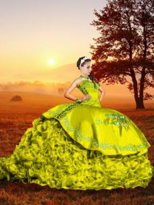 Custom Designed Sweetheart Sleeveless Sweet 16 Dress Brush Train Embroidery and Ruffles Yellow Green Organza