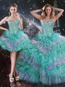 Multi-color Sleeveless Beading and Ruffled Layers Floor Length Quinceanera Gowns