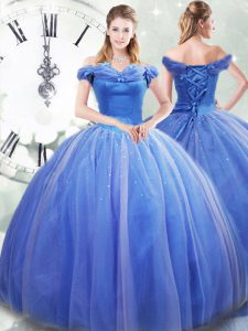 Romantic Off The Shoulder Sleeveless Brush Train Lace Up Sweet 16 Dresses Light Blue Tulle