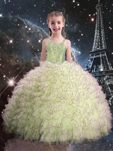 Inexpensive Sleeveless Floor Length Beading and Ruffles Lace Up Pageant Gowns For Girls with Olive Green