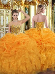 Smart Orange Lace Up Sweetheart Beading and Ruffles Quince Ball Gowns Organza Sleeveless