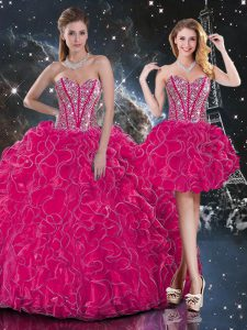 Hot Pink Sweetheart Lace Up Beading and Ruffles Quince Ball Gowns Sleeveless