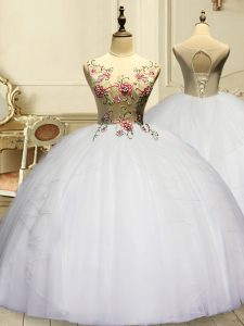 Romantic Sleeveless Floor Length Appliques and Ruffles Lace Up Quinceanera Dress with White
