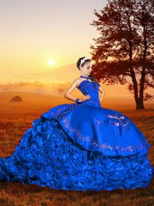 Artistic Sweetheart Sleeveless Ball Gown Prom Dress Brush Train Embroidery and Ruffles Blue Organza