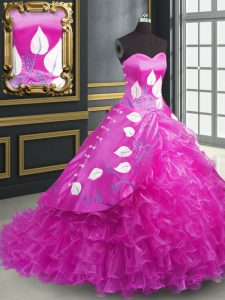 Sleeveless Brush Train Embroidery and Ruffles Lace Up Quinceanera Gown