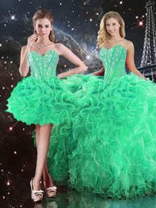 Organza Sleeveless Floor Length Quinceanera Dress and Beading and Ruffles