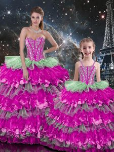 Organza Sweetheart Sleeveless Lace Up Beading and Ruffles Vestidos de Quinceanera in Multi-color