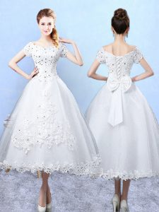 Discount Scoop Short Sleeves Wedding Party Dress Ankle Length Beading and Lace and Bowknot White Tulle