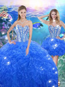 Enchanting Organza Sweetheart Sleeveless Lace Up Beading and Ruffles Sweet 16 Dress in Royal Blue