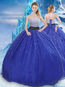 Modest Sleeveless Floor Length Beading and Sequins Lace Up Quinceanera Gowns with Royal Blue