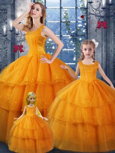 Ball Gowns Quince Ball Gowns Orange Straps Organza Sleeveless Floor Length Lace Up