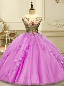 Stylish Lilac Ball Gowns Appliques 15th Birthday Dress Lace Up Tulle Sleeveless Floor Length