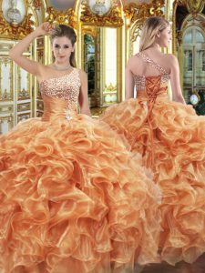 Decent Sleeveless Lace Up Floor Length Beading and Ruffles Ball Gown Prom Dress