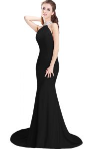 Black Halter Top Side Zipper Beading Prom Dresses Brush Train Sleeveless