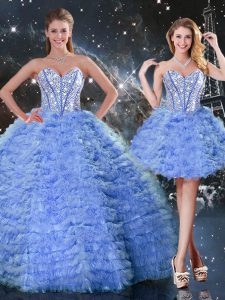 Blue Lace Up Sweetheart Beading and Ruffled Layers 15 Quinceanera Dress Tulle Sleeveless