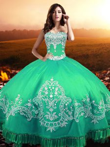 Turquoise Lace Up 15 Quinceanera Dress Beading and Appliques Sleeveless Floor Length