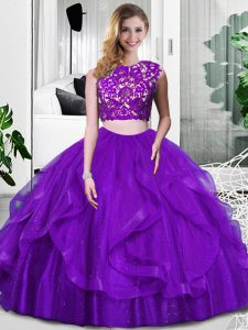 Cheap Purple Sleeveless Lace and Ruffles Floor Length Ball Gown Prom Dress