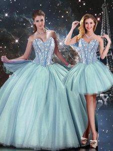 Light Blue Lace Up Sweetheart Beading Sweet 16 Dress Tulle Sleeveless