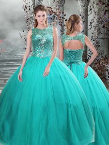 Ball Gowns Quince Ball Gowns Turquoise Scoop Tulle Sleeveless Floor Length Lace Up