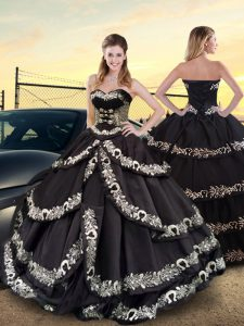 Sleeveless Floor Length Embroidery and Ruffled Layers Lace Up Quinceanera Gown with Black