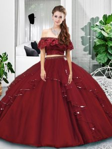 Sleeveless Lace and Ruffles Lace Up Quinceanera Gowns