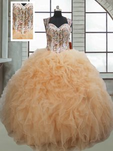 Champagne Sleeveless Organza Lace Up Sweet 16 Quinceanera Dress for Military Ball and Sweet 16 and Quinceanera