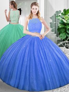 Edgy Scoop Sleeveless Zipper Quinceanera Gown Baby Blue Organza