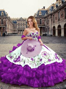 Embroidery and Ruffled Layers Quinceanera Dress Eggplant Purple Lace Up Sleeveless Floor Length