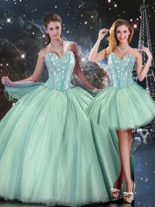 Sweetheart Sleeveless Lace Up 15th Birthday Dress Turquoise Tulle