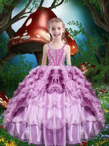 Beading and Ruffles and Ruffled Layers Child Pageant Dress Lilac Lace Up Sleeveless Floor Length