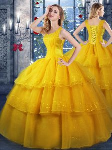 Organza Straps Sleeveless Lace Up Ruffled Layers Vestidos de Quinceanera in Gold