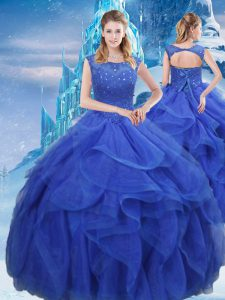 Affordable Floor Length Royal Blue Quinceanera Dress Organza Sleeveless Ruffles and Sequins