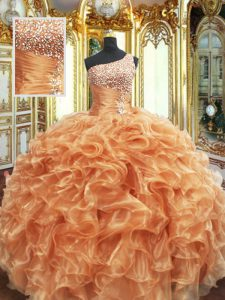 Customized Orange Ball Gowns One Shoulder Sleeveless Organza Floor Length Lace Up Beading and Ruffles Quinceanera Gowns