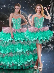 Fabulous Organza Sleeveless Floor Length Ball Gown Prom Dress and Beading and Ruffles and Ruffled Layers