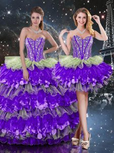 Multi-color Sweetheart Neckline Beading and Ruffles and Ruffled Layers Vestidos de Quinceanera Sleeveless Lace Up