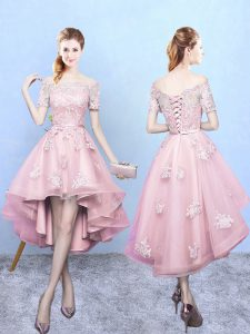 High Low Baby Pink Bridesmaids Dress Off The Shoulder Short Sleeves Lace Up