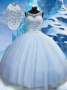 Sumptuous Floor Length Lace Up Sweet 16 Quinceanera Dress Light Blue for Military Ball and Sweet 16 and Quinceanera with Beading