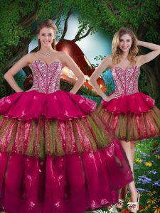Captivating Ball Gowns Sweet 16 Dress Burgundy Sweetheart Organza Sleeveless Floor Length Lace Up