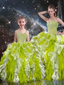 Flare Floor Length Ball Gowns Sleeveless Multi-color 15th Birthday Dress Lace Up