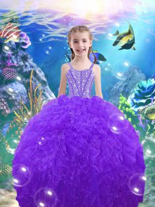 Customized Organza Sleeveless Floor Length Little Girls Pageant Dress and Beading and Ruffles