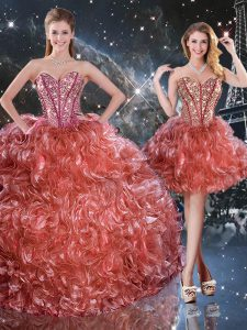 Smart Floor Length Rust Red Quinceanera Gown Sweetheart Sleeveless Lace Up