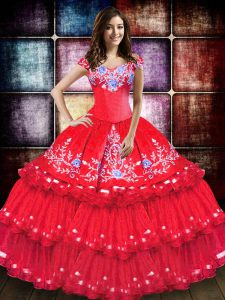 Exceptional Off The Shoulder Sleeveless Ball Gown Prom Dress Floor Length Embroidery and Ruffled Layers Coral Red Taffeta