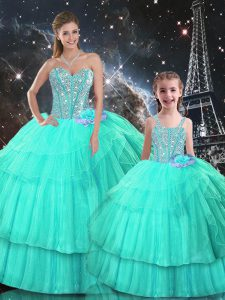 Stunning Organza Sweetheart Sleeveless Lace Up Ruffled Layers 15 Quinceanera Dress in Turquoise
