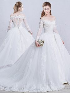 White Long Sleeves Brush Train Lace and Appliques Wedding Gown