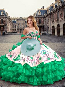 Green Sleeveless Organza and Taffeta Lace Up Vestidos de Quinceanera for Military Ball and Sweet 16 and Quinceanera