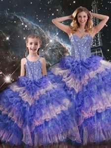 Multi-color Sleeveless Ruffled Layers and Sequins Floor Length Vestidos de Quinceanera