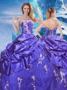 Purple Ball Gowns Taffeta Strapless Sleeveless Appliques and Pick Ups Floor Length Zipper Ball Gown Prom Dress