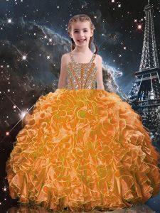 Nice Orange Red Lace Up Straps Beading and Ruffles Little Girls Pageant Gowns Organza Sleeveless